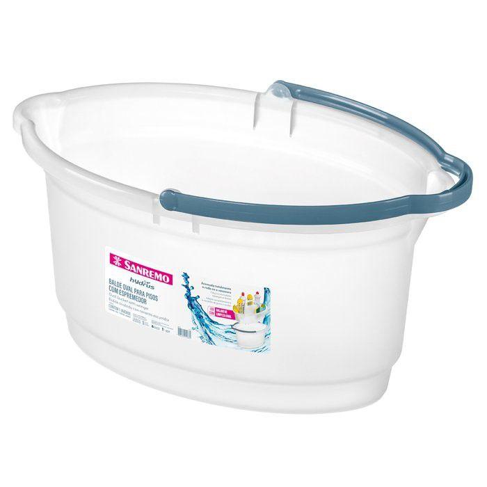Balde Oval 14 Litros Para Limpeza Rodo Vassoura Lavanderia Plástico - 237 Sanremo - Transparente