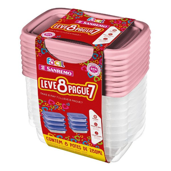 Conjunto Potes Hermético Plástico Pague 7 leve 8 Mantimentos Cozinha - SR160/7 Sanremo - Rosa