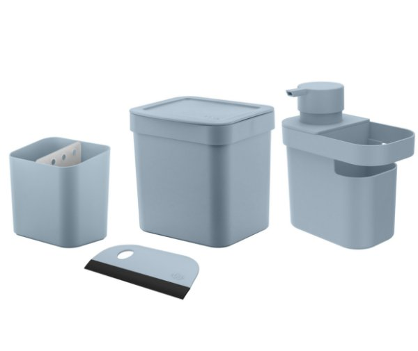 Kit Cozinha Dispenser Detergente Porta Esponja Rodinho Lixeira 2,5L Pia Escorredor Talheres - Ou - Azul Glacial