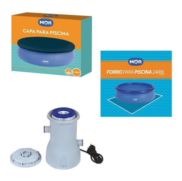 Kit Capa + Forro + Filtro 2.200 L/h Para Piscina Splash Fun 2400 Litros - Mor