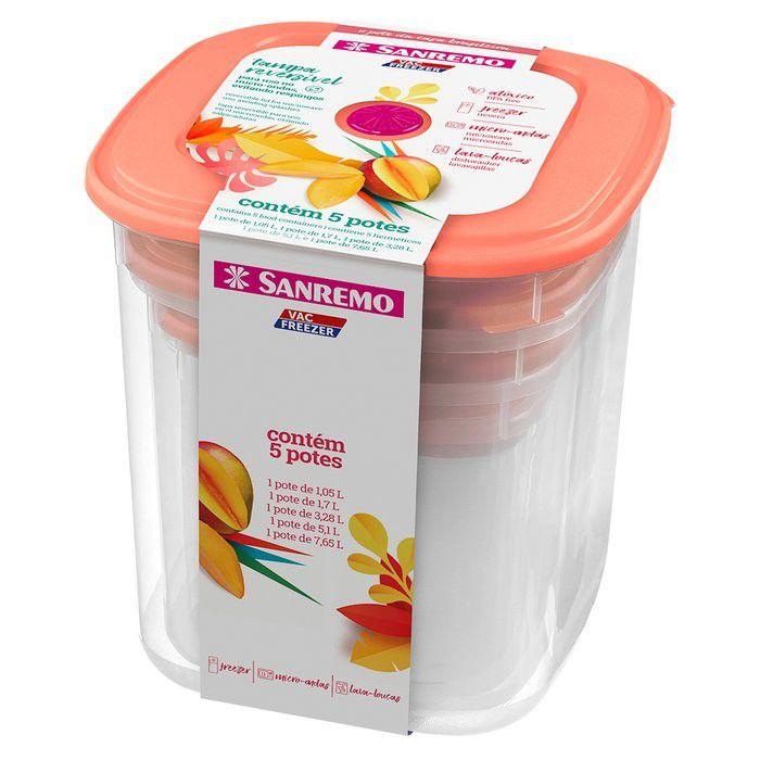 Conjunto 5 Potes Porta Alimentos Mantimentos Geladeira Cozinha Armário - 490 Sanremo - Rosa
