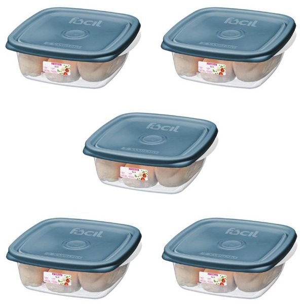 Conjunto Potes Plástico Hermético Pague 4 Leve 5 Mantimentos Cozinha - SR124/71 Sanremo - Azul