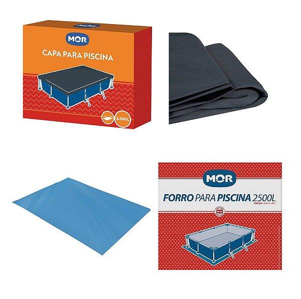Kit Capa + Forro Para Piscina Premium 2500 Litros - Mor