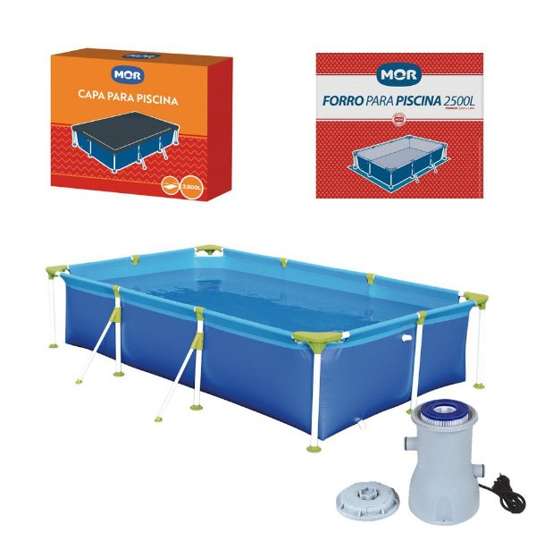 Kit Piscina Premium 2500 Litros + Capa + Forro + Filtro - Mor