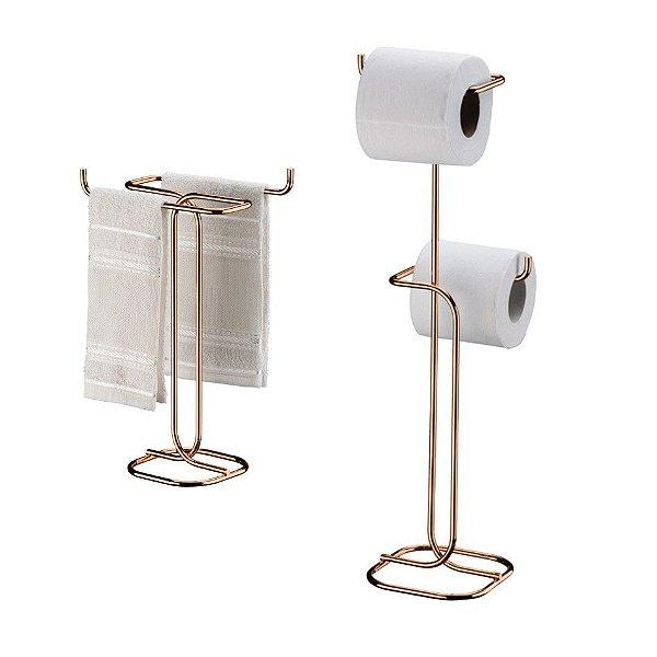Kit Porta Papel Higiênico Duplo Chão + Toalheiro Bancada - 1176RG Rosé Gold Future