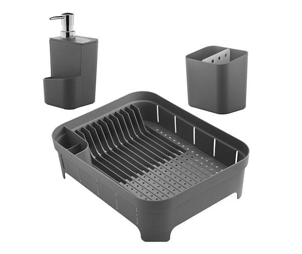Kit Escorredor De Louças Talheres Copos Dispenser Porta Detergente Pia Cozinha Chumbo - Ou