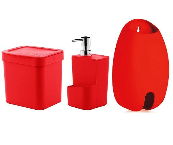 Kit Cozinha Lixeira 2,5 Litros Dispenser Porta Detergente Dispenser Sacolas - Ou - Vermelho
