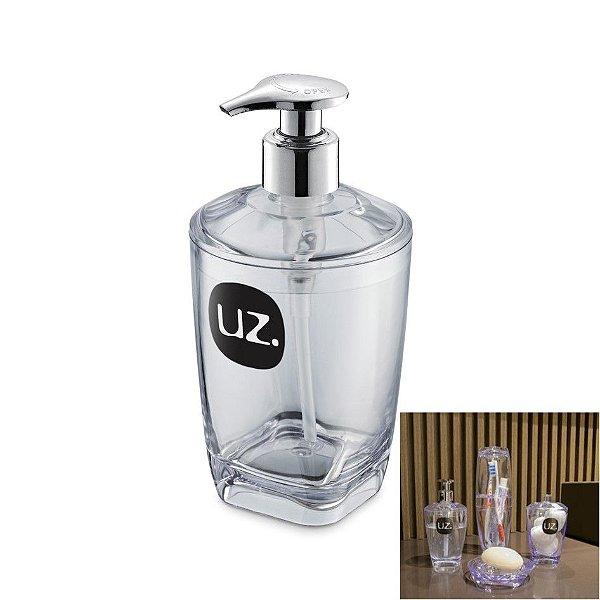Dispenser Porta Sabonete Líquido Saboneteira Acessório Banheiro Premium - UZ522 Uz - Transparente