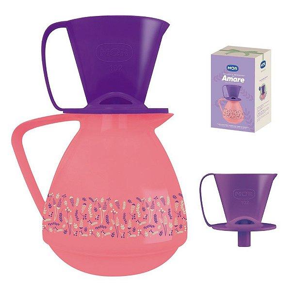 Conjunto Amare Decorado Bule Térmico Rosa 650ml + Suporte Coador Café - Mor