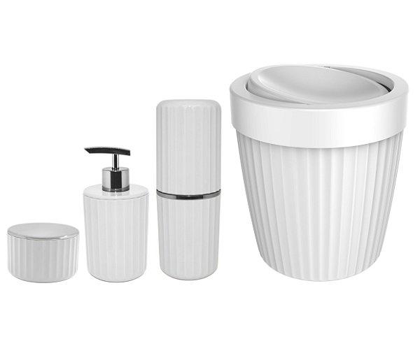 Kit Banheiro Lixeira Basculante 5L Porta Escovas Algodão Dispenser Sabonete Branco - KTE 061 Ou
