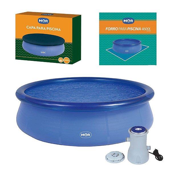 Kit Piscina Inflável Splash Fun 4600 Litros  + Capa + Forro + Filtro - Mor