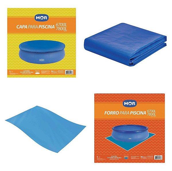 Kit Capa + Forro Para Piscina Splash Fun 6700 E 7800 Litros - Mor