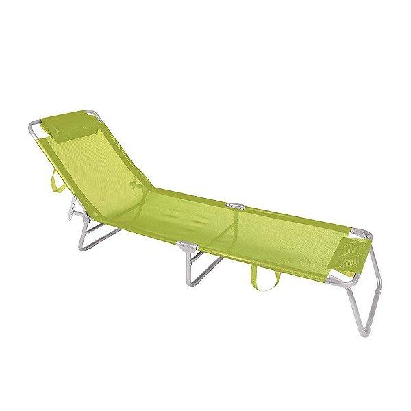 Cadeira Espreguiçadeira 4 Posições Alumínio Piscina Praia  - Mor - Verde Limão