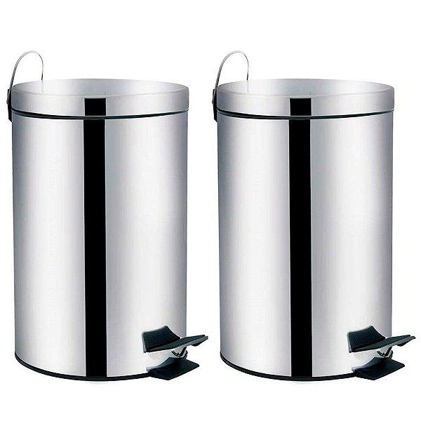 Kit 2 Lixeira Aço Inox 3 Litros Cesto De Lixo Com Pedal Balde Banheiro Cozinha Ágata - Mor