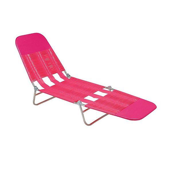 Cadeira Espreguiçadeira Pvc Regulável Aço Praia - Mor - Rosa