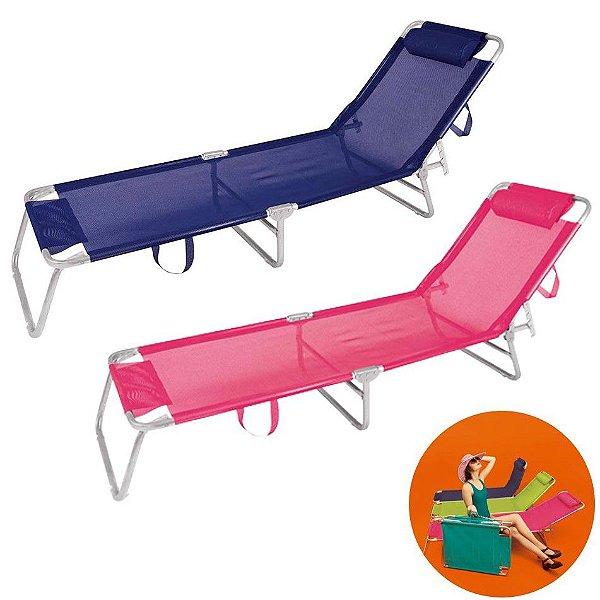 Kit 2 Cadeira Espreguiçadeira Alumínio Para Piscina Praia 4 Posições - Mor - Azul Marinho-Rosa