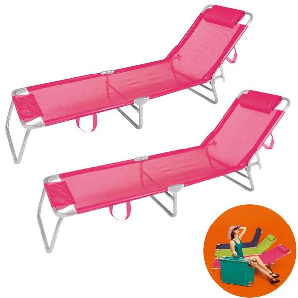 Kit 2 Cadeira Espreguiçadeira Alumínio Para Piscina Praia 4 Posições - Mor - Rosa