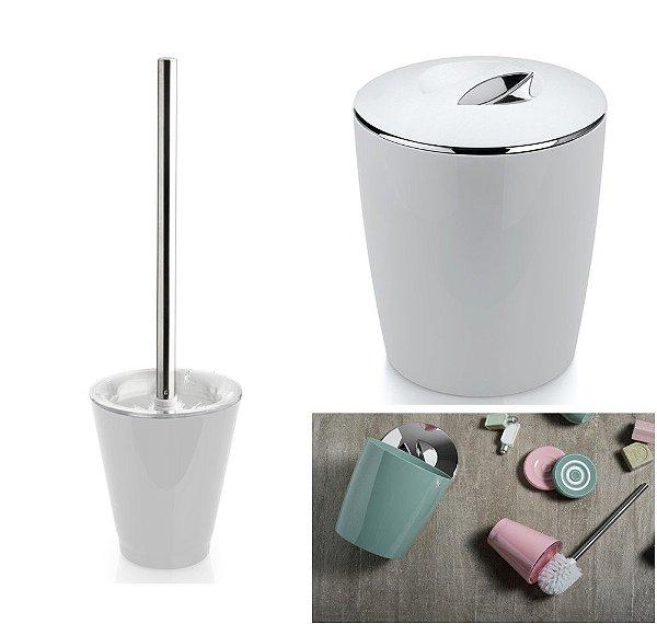 Conjunto Lixeira 5 Litros Vitra + Porta Escova Sanitária Banheiro Branco - KTE 009 Ou