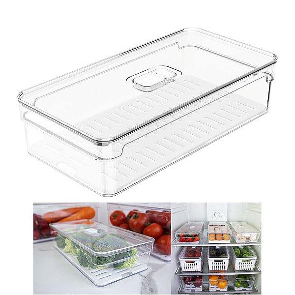 Organizador Porta Mantimento 2,8L C/ Tampa Geladeira Fruta Verdura Clear Fresh - OF 200 Ou