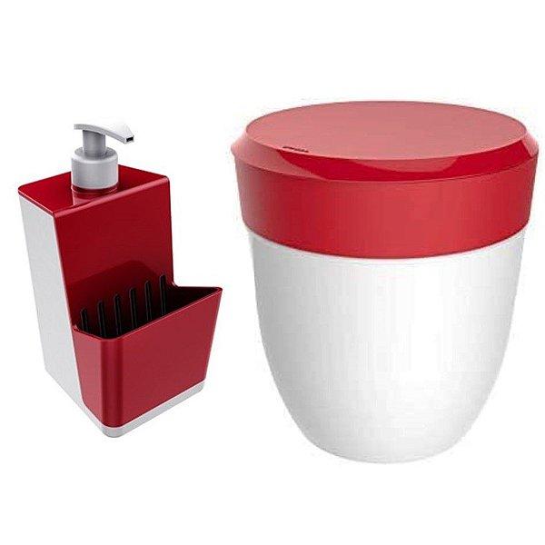 Kit Cozinha Dispenser Porta Detergente + Lixeira 2,5 Litros Pia - Branco Crippa - Vermelho