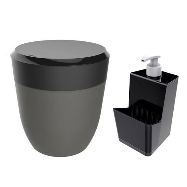 Kit Cozinha Dispenser Porta Detergente + Lixeira 2,5 Litros Pia - Crippa - Preto