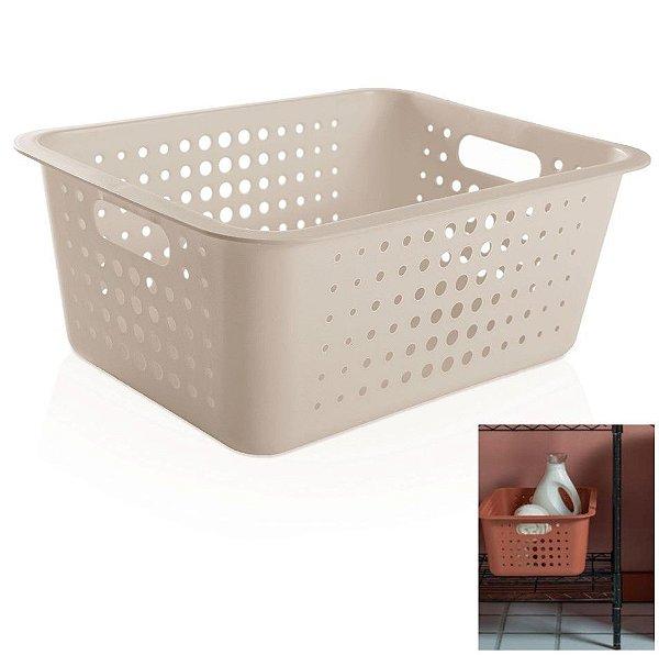 Caixa Cesto Organizador Grande 14,5l Plástico Multiuso Roupas Lavanderia Closet - CO 450 Ou - Bege