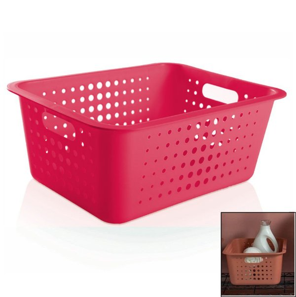 Caixa Cesto Organizador Grande 14,5l Plástico Multiuso Roupas Lavanderia Closet - CO 450 Ou - Rosa