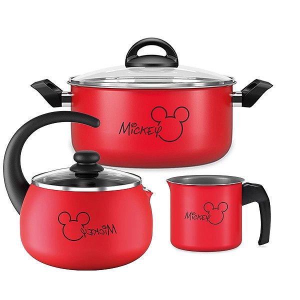 Kit Jogo Panela Alumínio Mickey Caçarola Fervedor Chaleira Antiaderente Cozinha - Brinox  - Vermelho