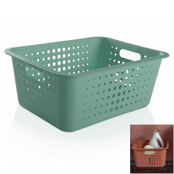 Caixa Cesto Organizador Grande 14,5l Plástico Multiuso Roupas Lavanderia Closet - CO 450 Ou - Verde Menta