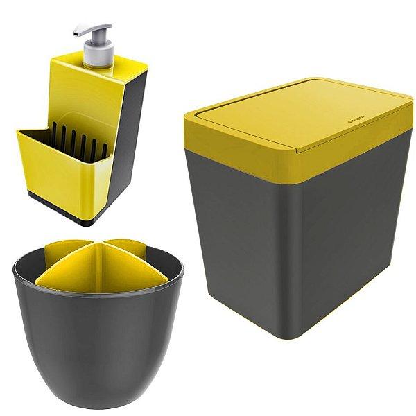 Kit Cozinha Pia Porta Dispenser Detergente + Lixeira 5L + Escorredor Talheres - Chumbo  Crippa - Amarelo