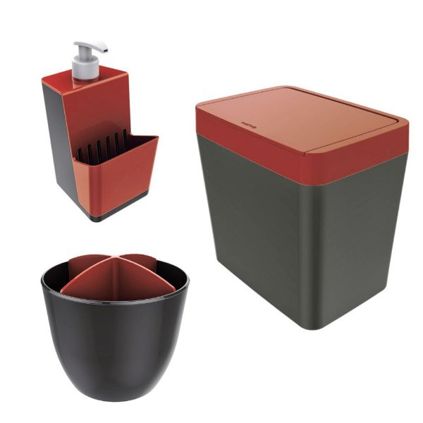 Kit Cozinha Pia Porta Dispenser Detergente + Lixeira 5L + Escorredor Talheres - Chumbo  Crippa - Vermelho