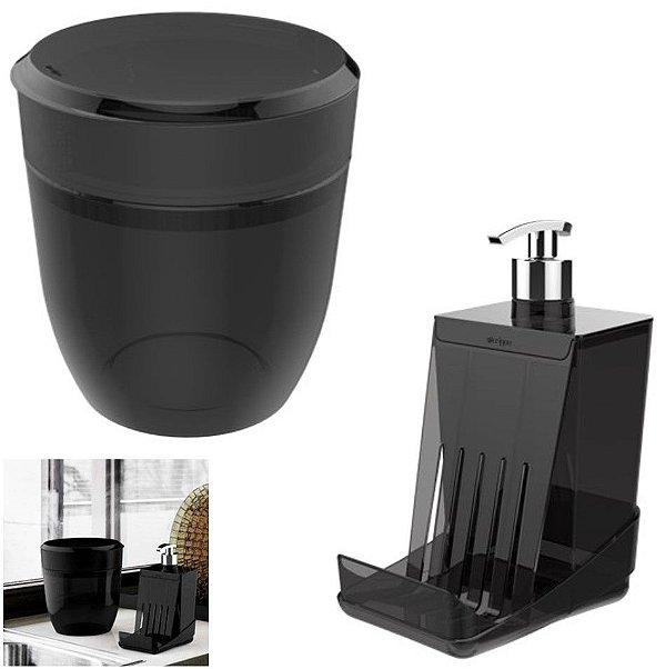Kit Cozinha Smart S Dispenser Porta Detergente Esponja + Lixeira 2,5 L - Crippa - Fumê