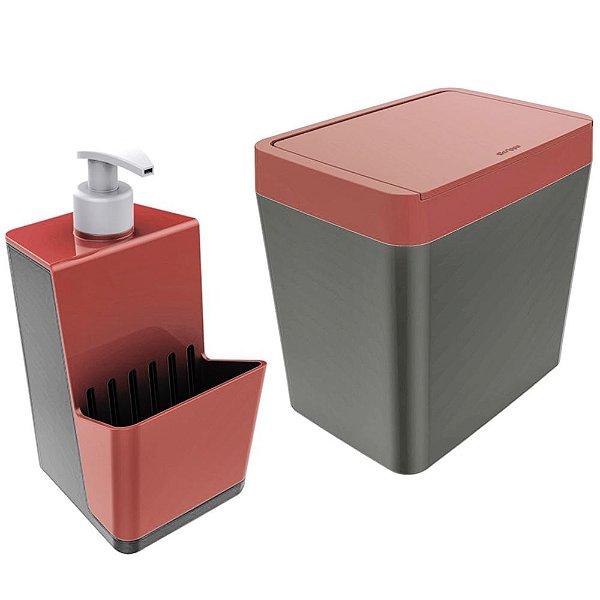 Kit Dispenser Porta Detergente + Lixeira 5 Litros Para Pia Cozinha - Chumbo Crippa - Vermelho