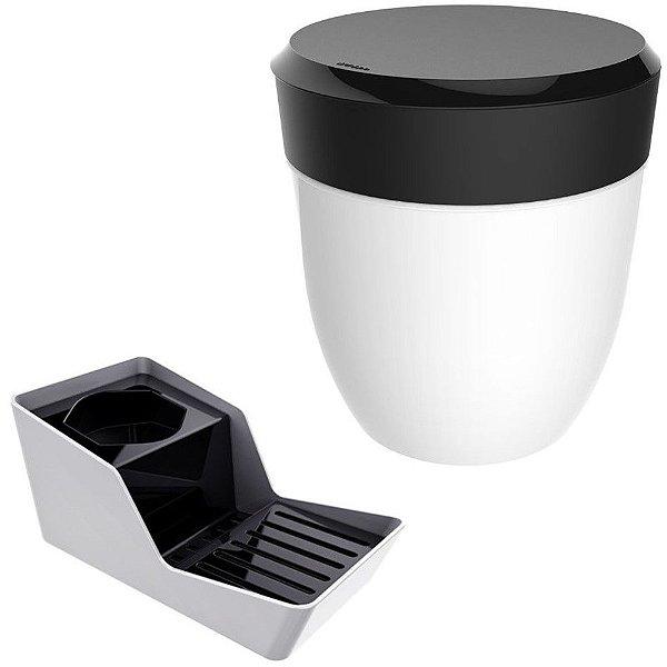 Kit Organizador De Pia Porta Detergente + Lixeira 2,5 Litros Cozinha - Branco Crippa - Preto