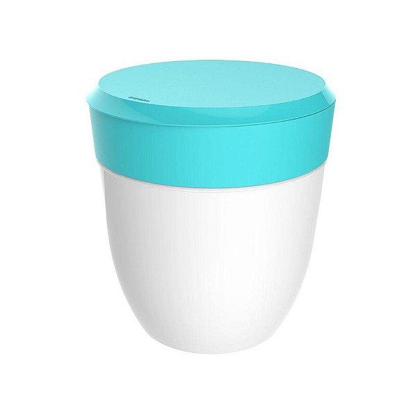 Lixeira 2,5 Litros Redonda Cesto Lixo Bancada Cozinha Escritório Banheiro Branca - Crippa - Azul Turquesa