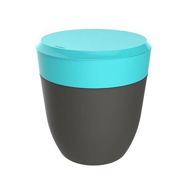 Lixeira 2,5 Litros Redonda Cesto Lixo Bancada Cozinha Escritório Banheiro Chumbo - Crippa - Azul Turquesa