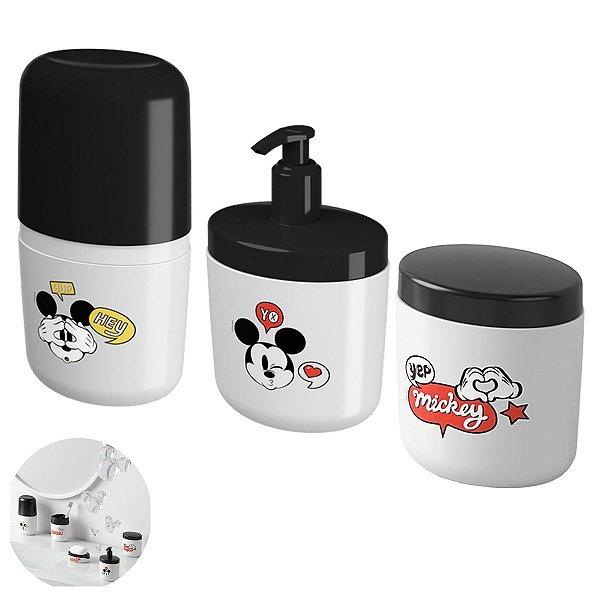 Kit Dispenser Sabonete Líquido Porta Escova Dente Algodão Mickey Acessório Pia Banheiro - Coza