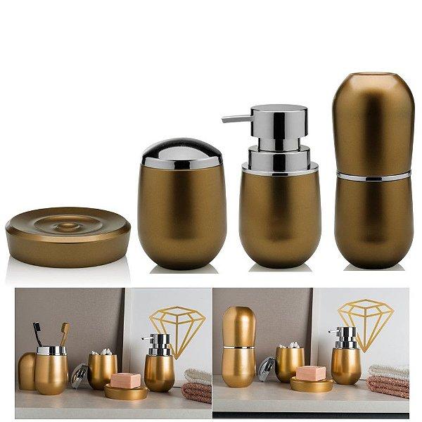Kit Acessórios Banheiro Dourado Porta Escovas Saboneteira Algodão Belly Vintage - Ou