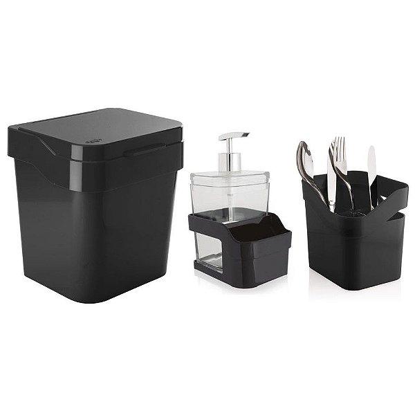 Kit Cozinha Discovery Escorredor De Talheres + Porta Detergente + Lixeira 3L - Ou