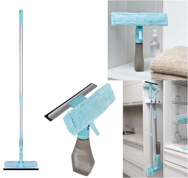 Kit Limpeza Limpa Vidros Extensível + Limpa Vidros Spray Rodo - Mor