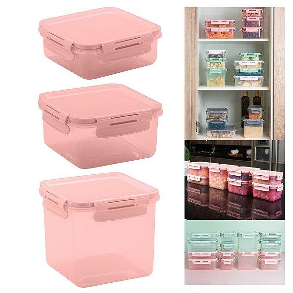 Conjunto 3 Potes Herméticos Tampa Click Porta Alimentos Lancheiras - KTE 014 Ou - Rosa