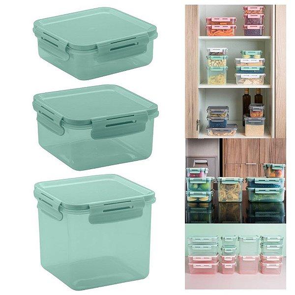 Conjunto 3 Potes Herméticos Tampa Click Porta Alimentos Lancheiras - KTE 014 Ou - Verde Menta