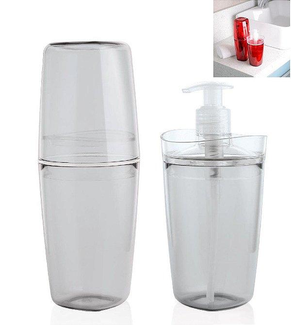 Conjunto Banheiro Tule Porta Escovas Pasta Dispenser Sabonete Pia - CBT805 Ou - Natural