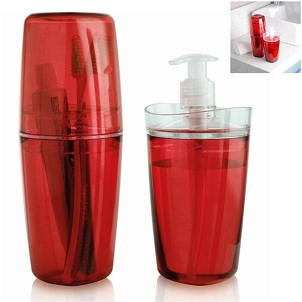 Conjunto Banheiro Tule Porta Escovas Pasta Dispenser Sabonete Pia - CBT805 Ou - Vermelho