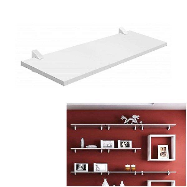 Prateleira De Madeira Parede 60x25cm Retrato Livro Para Quarto Sala Concept - Pratk - Branco