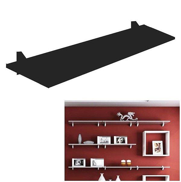 Prateleira De Madeira Parede 80x20cm Porta Retrato Livro Brinquedo Concept - Pratk - Preto