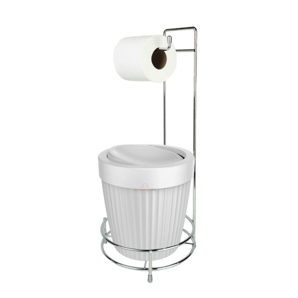 Kit Porta Papel Higiênico E Suporte Com Lixeira Basculante 5L Cesto Lixo Chão Banheiro - Ou - Branco