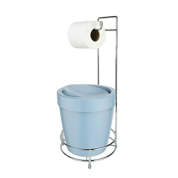 Kit Suporte Porta Papel Higiênico Com Lixeira Basculante 5L Cesto Lixo Chão Banheiro Vitra - Ou - Azul Glacial