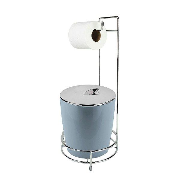 Kit Suporte Porta Papel Higiênico E Lixeira Com Tampa Cromada 5L Chão Banheiro Vitra - Ou - Azul