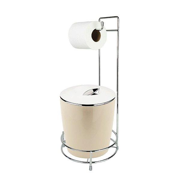 Kit Suporte Porta Papel Higiênico E Lixeira Com Tampa Cromada 5L Chão Banheiro Vitra - Ou - Bege